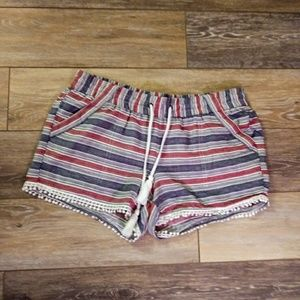 Rewind red and blue striped lounge shorts